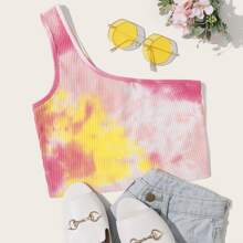 One Shoulder Rib-knit Tie Dye Crop Top