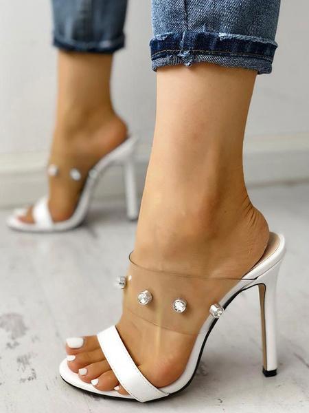Milanoo Sandalias para mujer Zapatillas Blancas Toe Slides Transparente Chic Sheos