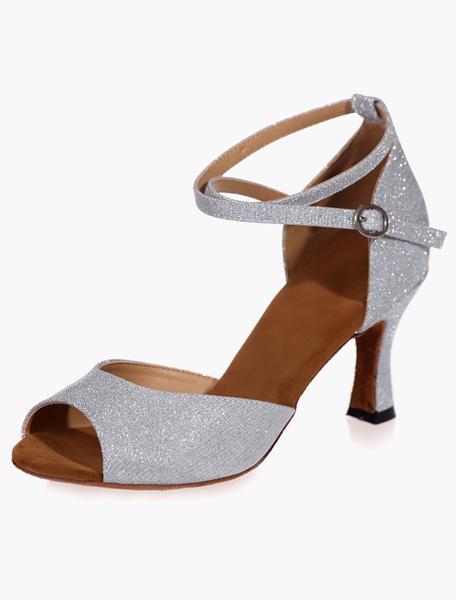 Milanoo Zapatos de salon Glitter Zapatos de baile latino Peep Toe de plata Criss Cross
