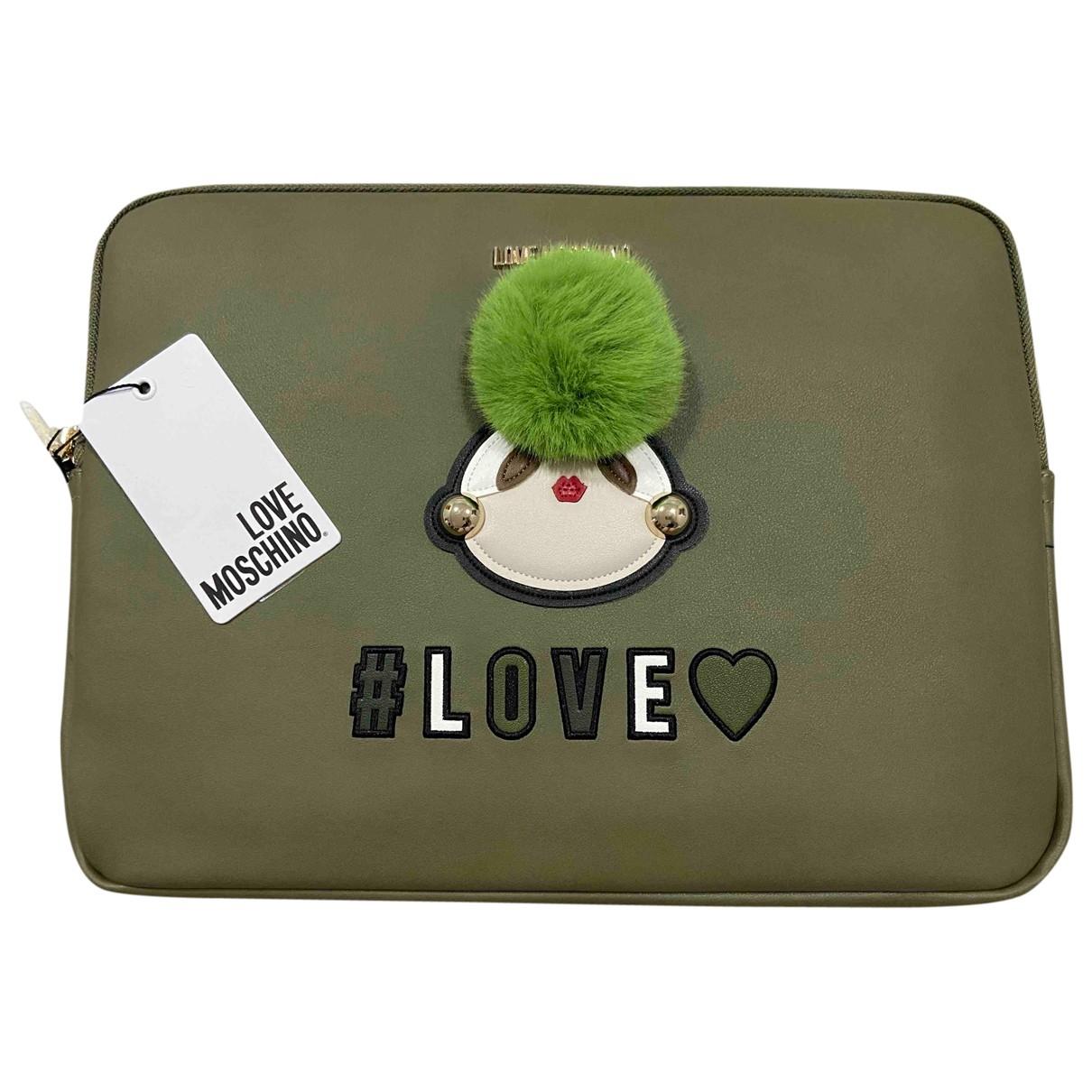 Moschino Love - Pochette   pour femme en cuir - vert