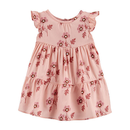 Carter's Baby Girls Short Sleeve A-Line Dress, 6 Months , Pink