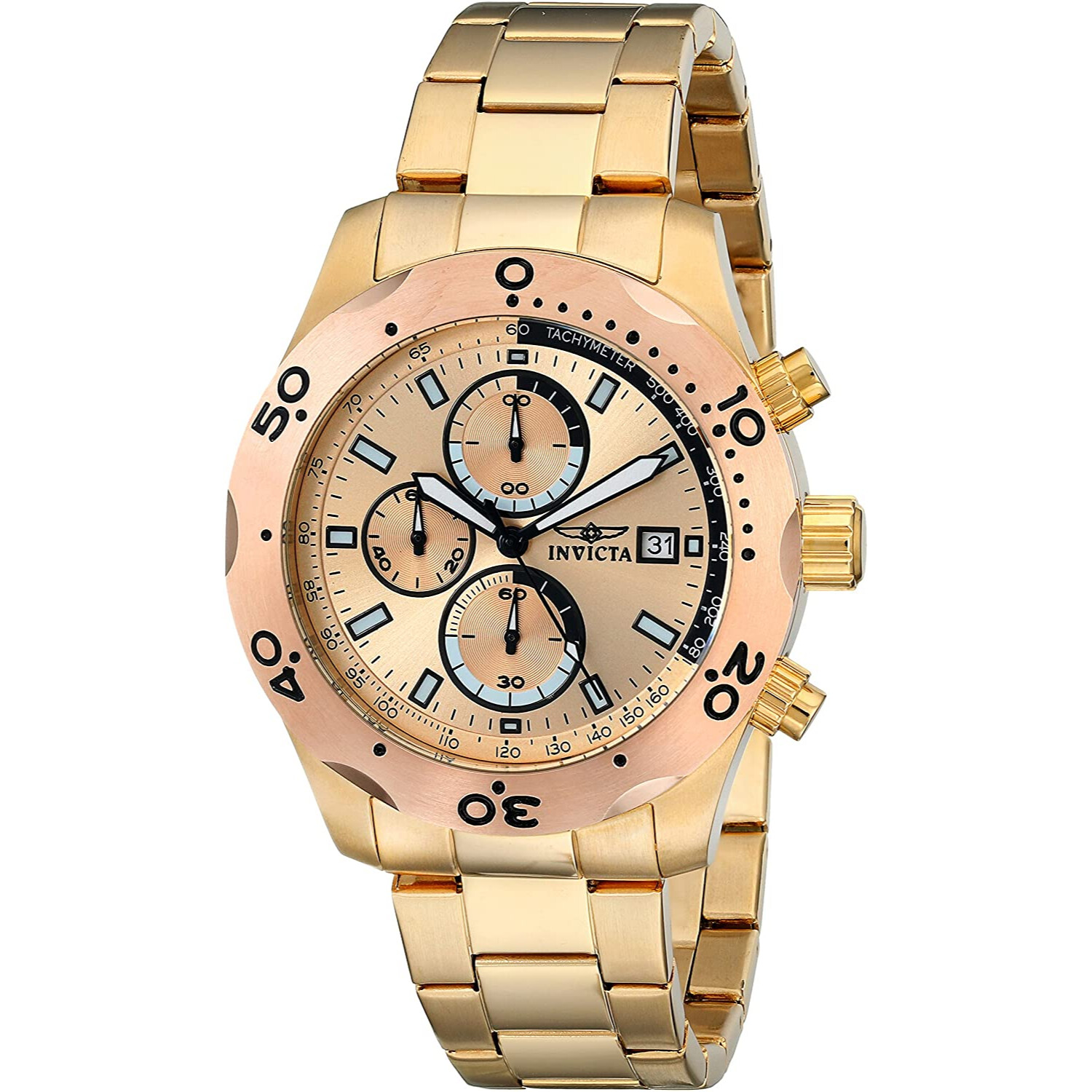 Invicta Mens Speciality 17753 Gold Stainless-Steel Plated Swiss Parts Quartz Fashion Watch