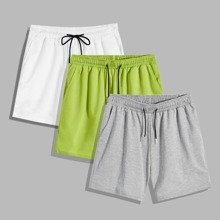 Men 3pcs Drawstring Waist Track Shorts