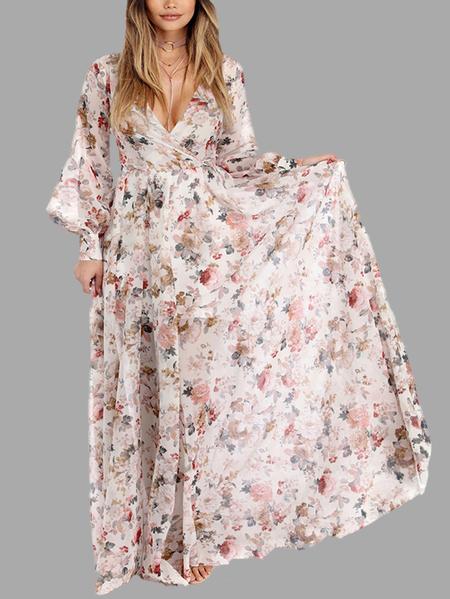 Yoins White Random Floral Print V-neck Long Sleeves Maxi Dress