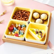 4pcs Dish With 1pc Wooden Tray