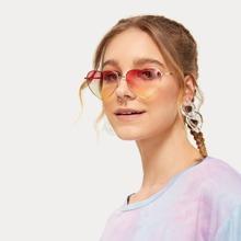 Gradient Lens Heart Frame Sunglasses