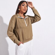 Drop Shoulder Zip Half Placket Pullover