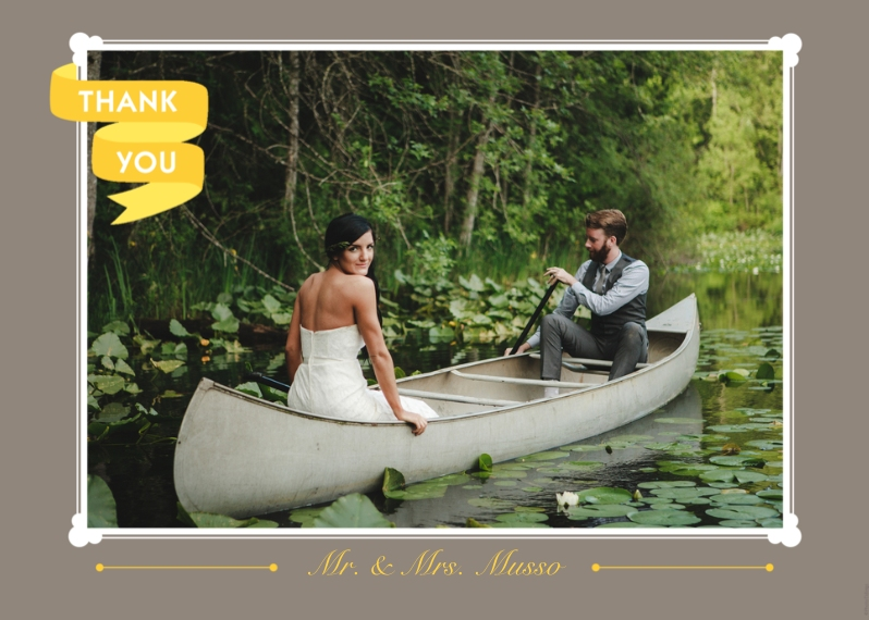 Wedding Thank You 5x7 Folded Cards, Premium Cardstock 120lb, Card & Stationery -Thank You Yellow Banner