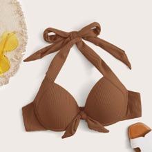Rib Underwire Halter Bikini Top