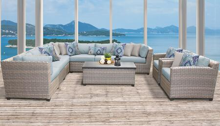 Florence Collection FLORENCE-10a-SPA 10-Piece Patio Set 10a with 3 Corner Chair   4 Armless Chair   1 Storage Coffee Table   2 Club Chair - Grey and