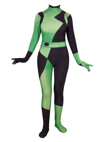 Milanoo Kim Possible Shego Jumpsuit Zentai Cosplay Costume Halloween