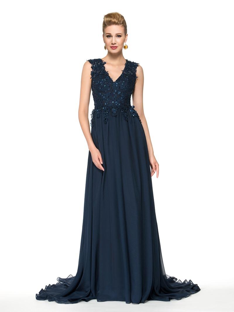 Ericdress Elegant V Neck Appliques Long Mother of the Bride Dress