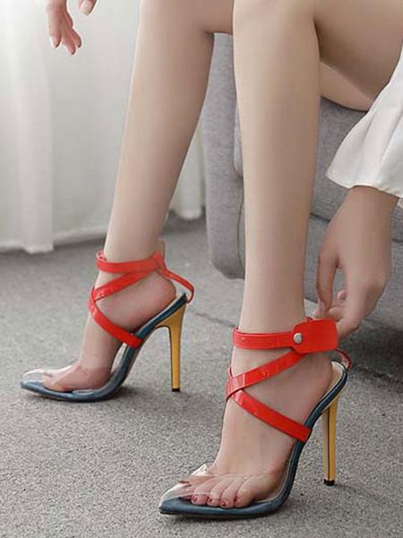Milanoo High Heel Sandals Womens Pointed Toe Criss Cross Stiletto Heels Sandals