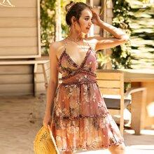 Cami Kleid mit Falten, Kreuzgurte hinten und Blumen