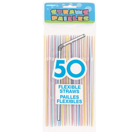 Striped Plastic Drinking Flexible Straws 50Pcs