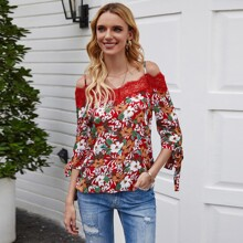 Contrast Lace Cold Shoulder Knot Cuff Floral Top