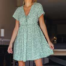 Lace Up Front Frilled Ditsy Floral Dress