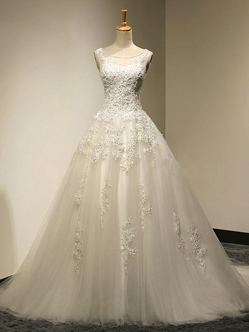 Ericdress Scoop Neck Appliques Lace Up Wedding Dress