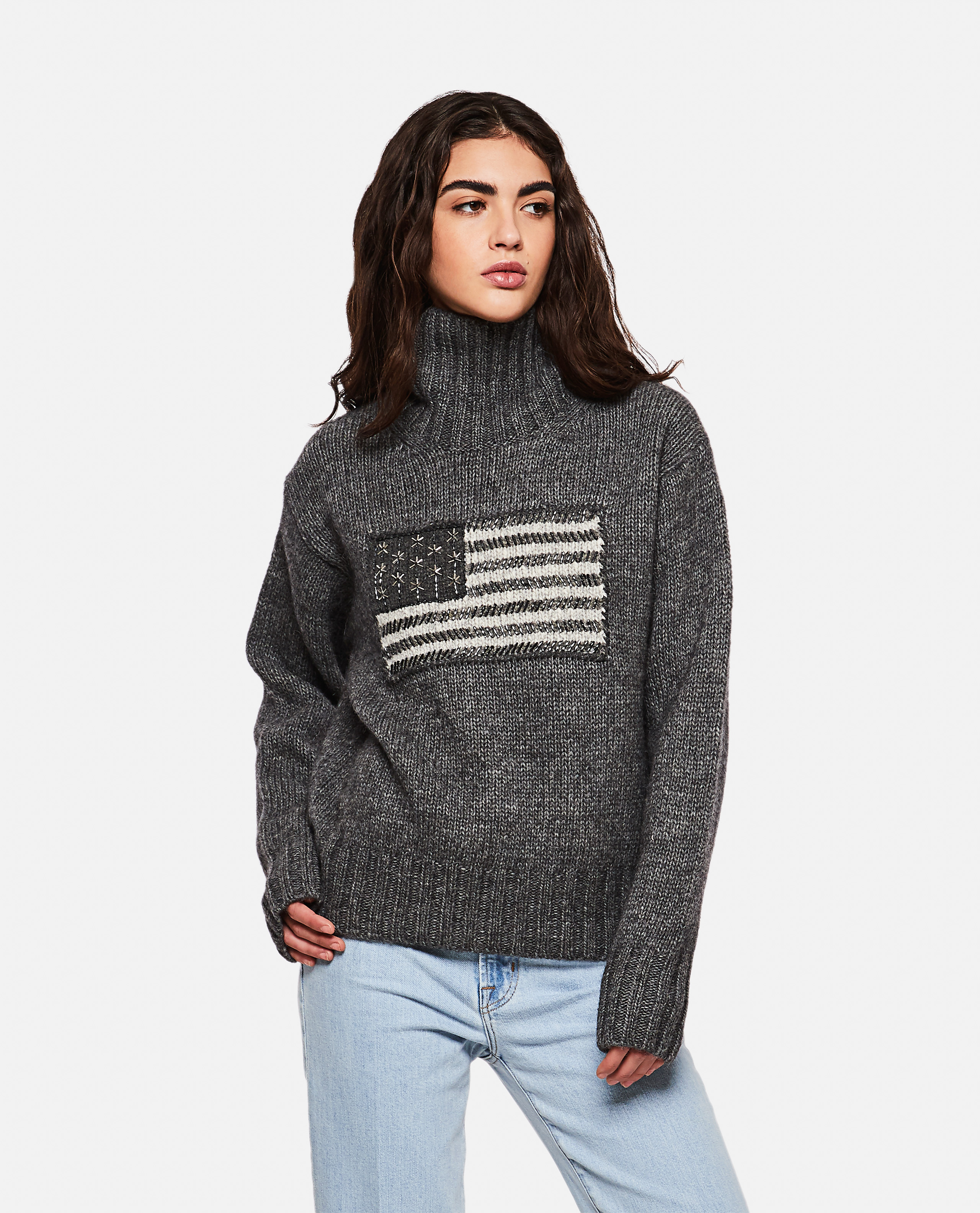 Sweater with flag intarsia