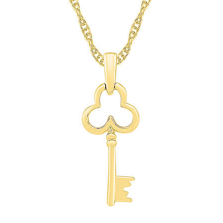 Womens 10K Gold Keys Pendant Necklace, One Size , No Color Family