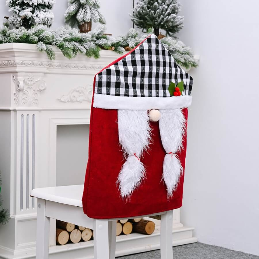 LW Lovely Christmas Day Plaid Print Patchwork Red Chair Cover