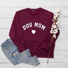 Plus Letter & Heart Print Oversized Sweatshirt