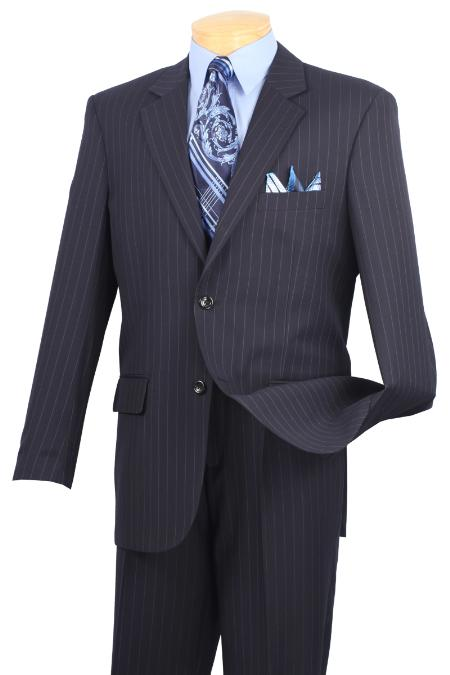 Notch Collar Pleated Pants Executive Classic Pin Stripe Navy Suit