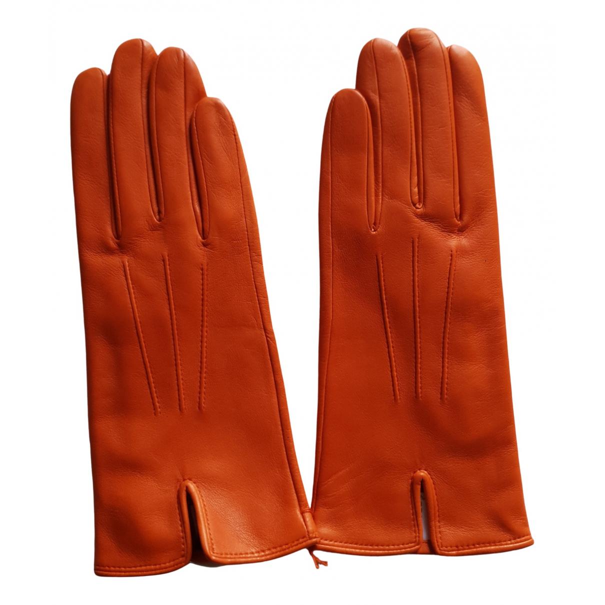 Sermoneta Gloves \N Orange Leather Gloves for Women 6.5 Inches
