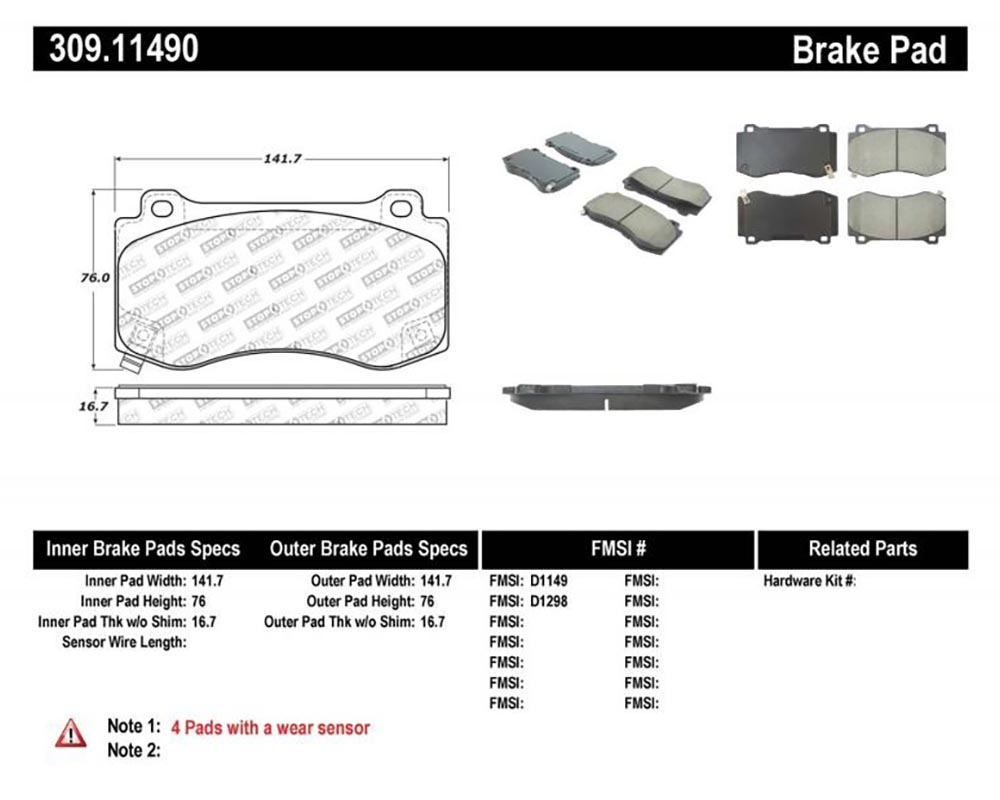StopTech 309.1149 Sport Brake Pads with Shims/Hardware Front