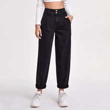 Black Wash Fold Pleat Carrot Jeans