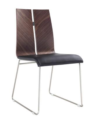 Lauren Collection DC1191-WLT-BLK Dining Chair with Natural Wood Veneer Material  Tall Backrest  Brushed Nickel Metal Frame and Faux Leather
