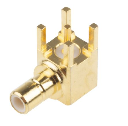 RS PRO Right Angle 50Ω PCB Mount Coaxial Connector, Plug, Gold, Solder Termination