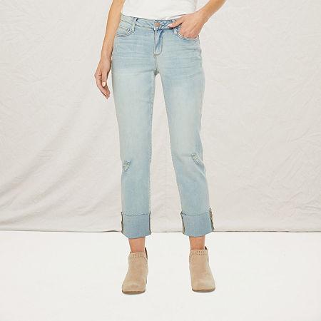 a.n.a Womens Ripped Straight Jean, 6 , Blue