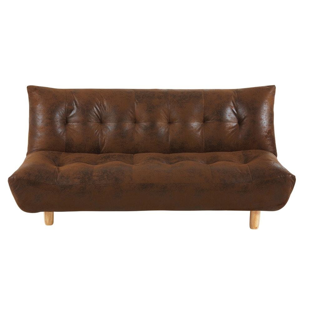 Ausziehbares 3-Sitzer-Sofa, brauner Microsuede-Bezug Cloud