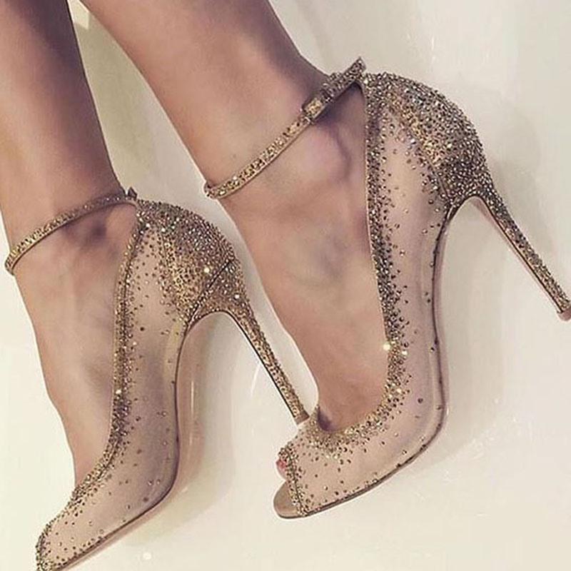 Ericdress Golden Rhinestone Peep Toe Stiletto Heel Pumps