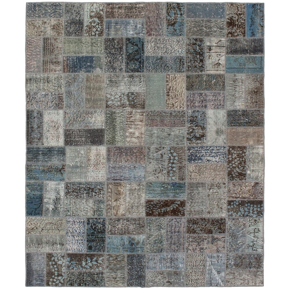 ECARPETGALLERY Hand-knotted Color Transition Patchwork Grey Wool Rug - 5'9 x 7'6 (Grey - 5'9 x 7'6)