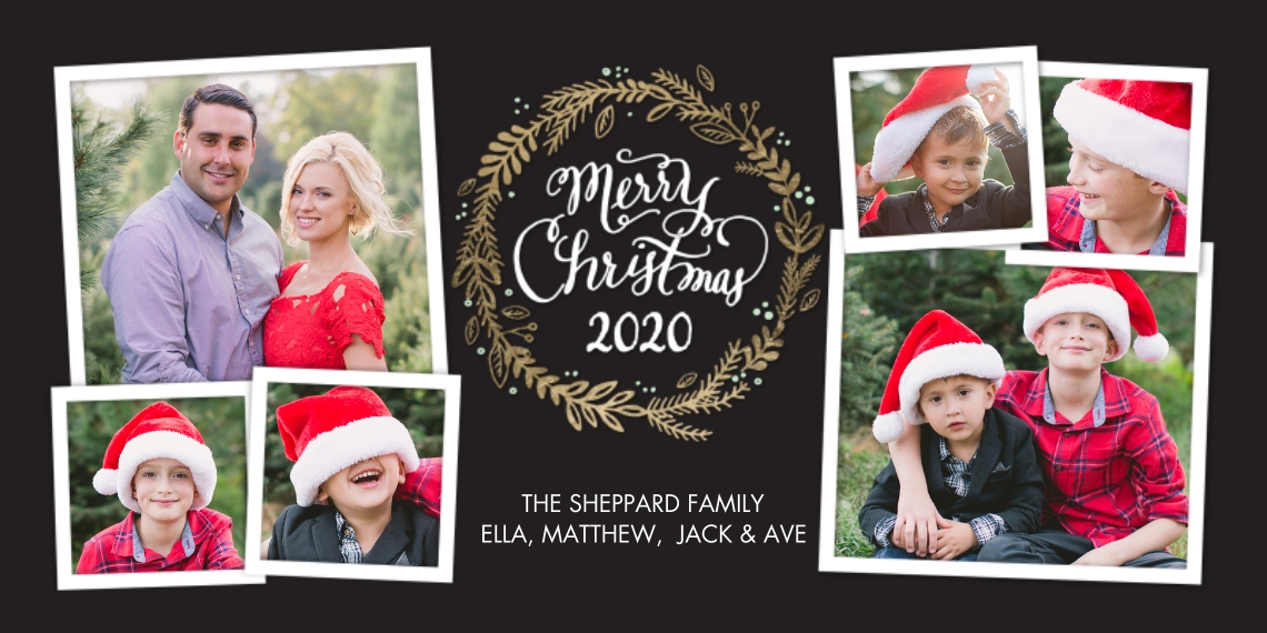 Christmas Photo Cards Flat Matte Photo Paper Cards with Envelopes, 4x8, Card & Stationery -2020 Christmas Wreath Collage by Tumbalina