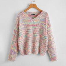 Drop Shoulder Space Dye Sweater