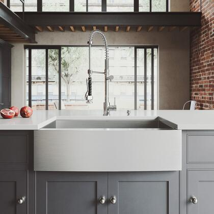 Camden Collection VG15709 All-In-One 33 Stainless Steel Farmhouse Kitchen Sink Set With Zurich Faucet in Chrome  Grid  Strainer And Soap