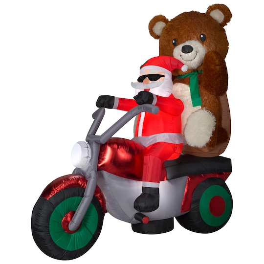6.5Ft Airblown® Mixed Media Santa With Teddy Bear On Motorcycle Scene By Gemmy Industries | Michaels®