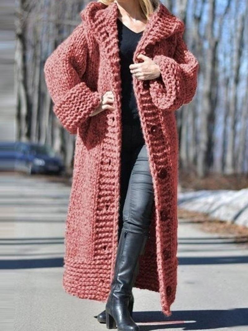 Ericdress Regular Thin Button Long Long Sleeve Sweater