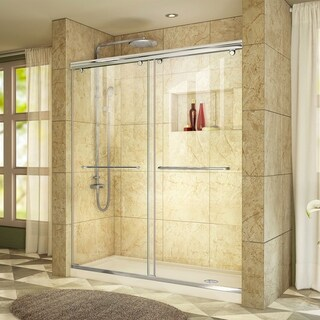 DreamLine Charisma 34 in. D x 60 in. W x 78 3/4 in. H Bypass Sliding Shower Door and Shower Base Kit - 34 x 60 (Biscuit Base - Right - Chrome