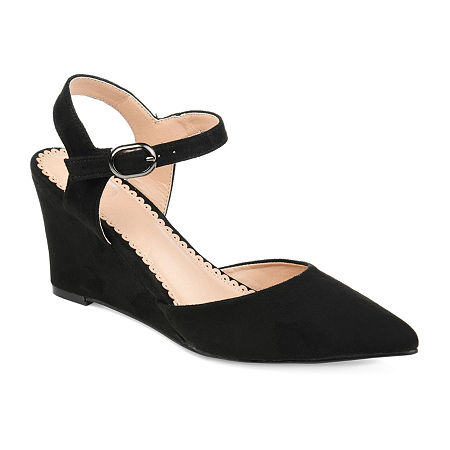 Journee Collection Womens Anndria Pumps Wedge Heel, 7 1/2 Medium, Black