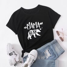 T-Shirt mit Baeren & Buchstaben Grafik