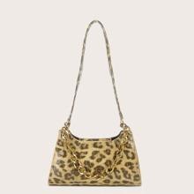 Leopard Print Chain Shoulder Bag