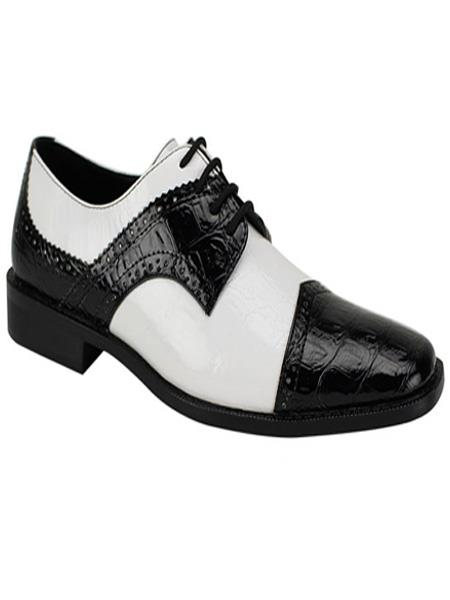 Men's Fashion Two Toned Black/White Dress Shoe