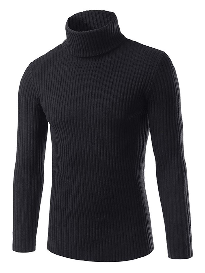 Ericdress Turtleneck Solid Color Plain Slim Men's Casual Sweater
