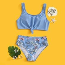 Girls Floral Knot Hem Bikini Swimsuit