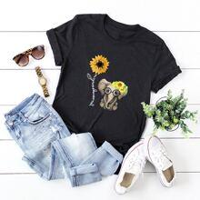 T-Shirt mit Sonnenblumen & Elefant Muster