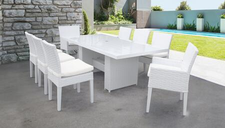 MONACO-DTREC-KIT-6ADC2DCC Monaco 9-Piece Outdoor Patio Dining Set with Rectangular Table + 6 Side Chairs + 2 Arm Chairs - 1 Sail White